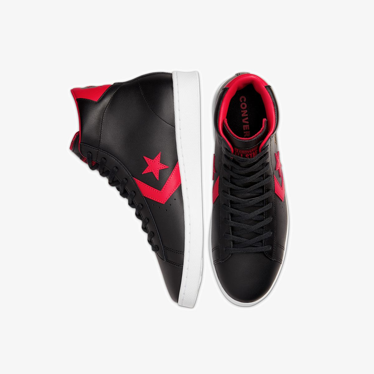 Кеды Converse PRO LEATHER MID BLACK/UNIVERSITY RED